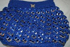 Blue with Soda tabs Crochet purse. by ImeldasCrochet on Etsy, $45.00