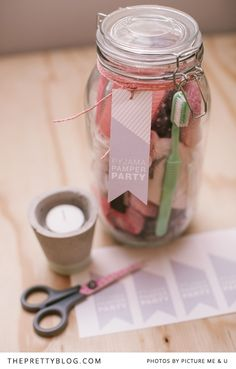 We've put together pyjama party packs with beautiful printables as inspiration for your very own slumber party. This idea can also work well for a relaxed, stay-at-home bachelorette or even a girls birthday party.