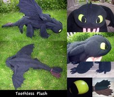 Free sewing pattern for Toothless Dragon by quirky artist loft