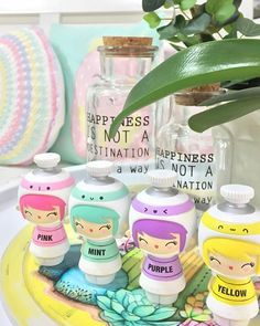 Gifts for crafters. A colourful studio shot of the Momiji CREATE dolls. A reminder to paint the world in your colours. Take your creativity seriously! by @aycrk  C R E A T E #momijidolls