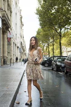 Chloe Dress and Chanel Slingbacks | Song of Style