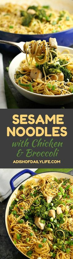 Sesame Noodles with Chicken and Broccoli