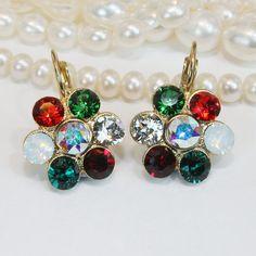Christmas Earrings Red Green White Christmas Gift For Her