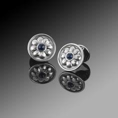 Buccellati Sterling Silver Daisy Cufflinks /w Blue Sapphire Centers