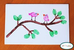Thumb print birds and tree limb