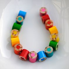 necklace made from colored pencil pieces!!