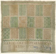 smithsonian collection:   embroidery sampler by Marie Terese Fourbisseur. Anno 1723