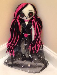Punk Rock Princess Doll Pink Hair Gothic Doll by RiotGirlCreations