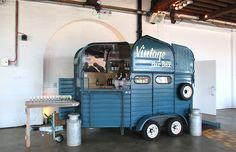 Vintage Bar Box provided a quirky fun mobile pop-up bar on hire for a London themed wedding at Trinity Buoy Wharf in London from a cool retro horse box. Catering Trailer, Food Trailer, Horse Barns, Horses, Converted Horse Trailer, Coffee Box, Coffee Cafe, Horse Box Conversion, Diy Wedding Bar