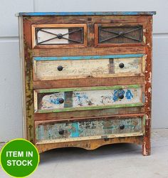 Recycled Reclaimed Timber Shabby Chic French tall boy chest of drawers sideboard