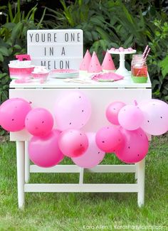 Watermelon themed DIY birthday party dessert | treat table by Kara's Party Ideas | Kara Allen | KarasPartyIdeas.com #MichaelsMakers You're one in a melon! 10