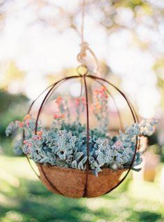 succulent hanging basket decor wedding event party outdoor garden