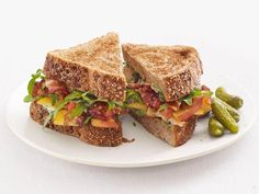 Get Bacon, Peach and Arugula Sandwiches Recipe from Food Network