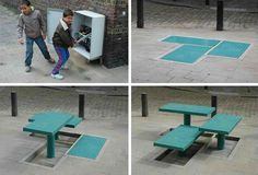 This smart set of hydraulic benches is flush with the ground when not in use, but those who want to sit down can simply pull a lever and watch it rise up. Designed by Carmela Bogman and Rogier Martens to give the public a little more control over the urban environment, the benches can be raised to the desired height for the particular people who want to use them.