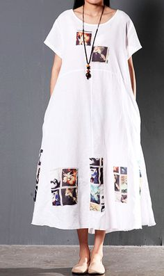 White short sleeve linen sundress summer print maxi dresses causal fit flare dress