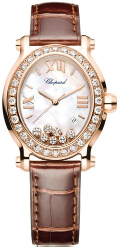 Chopard Happy Sport Oval $11,595 - yellow Gold case with leather bracelet and quartz movement.