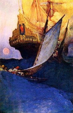 """Attack on a Galleon, 1905, by Howard Pyle (1853–1911). """"Do you know an American magazine called Harper's Monthly? There are things in it which strike me dumb with admiration, including sketches of a Quaker town in the olden days by Howard Pyle."""" ~Vincent van Gogh, in a letter to his brother, Theo. Quote from NC Wyeth: A Biography 