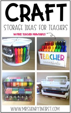 Love these craft storage ideas! Perfect for storing and organizing teacher craft supplies! School Supplies Organization, Sewing Room Organization, Classroom Organisation, Craft Supplies, Storage Organization, Organization Ideas, Craft Storage, Storage Ideas, Teacher Storage