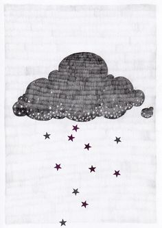 Stargazer cloud, raining stars pencil illustration // A3 print