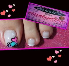 Dd Más Acrylic Nail Art, Toe Nail Art, Feet Nails, My Nails, Gorgeous Nails, Pretty Nails, Summer Toe Designs, Pretty Pedicures, French Pedicure