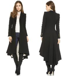 winter women slim maxi wool trench Fashion Victoria Style Black Asymmetric Length  with dovetail hem Wool Blend Coat Haoduoyi-in Wool & Blends from Women's Clothing & Accessories on Aliexpress.com | Alibaba Group