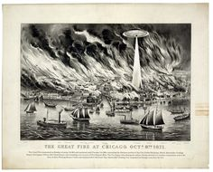 Alternate histories....  UFO destructo-ray in effect --> Great Chicago Fire.     (Credit to Chicago History Museum for bringing this to our attention.)