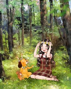 Happiness In Living Alone Revealed In 65 Illustrations By Korean Artist – My Home Inspiration Anime Art, Forest Girl, Art Drawings, Drawings, Fantasy Art, Cute Art, Whimsical Art, Illustration Art, Cute Drawings