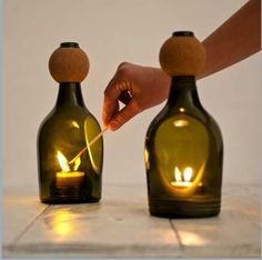 Awesome recycled and recyclable candle lanterns made from a single Italian 'Prosecco' bottle. Perfect for both interior and exterior settings. Wine Bottle Candle Holder, Wine Bottle Art, Diy Bottle, Candle Holders, Cut Wine Bottles, Beer Bottle, Recycled Glass Bottles, Glass Bottle Crafts, Empty Bottles