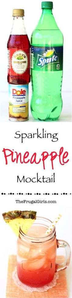 Sparkling Pineapple Mocktail Recipe! ~ from http://TheFrugalGirls.com ~ add a splash of fun to your next summer party with these delicious tropical refreshing drinks! Just 4 ingredients and SO delicious! #mocktails #recipes #thefrugalgirls