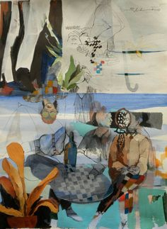 "Saatchi Art Artist Golnaz Afraz; Painting, ""Behind the umbrella"" #art"