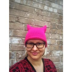 Pink Pussy Hat Women's March Hat Unique Handknit Fashion Accessories ($35) via Polyvore featuring accessories, hats, acrylic hat, hand knitted hats, pink hat and hand knit hats