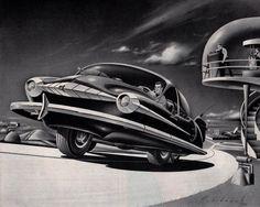Arthur Radebaugh illustration from 1952.  Spaceship, pulp retro futurism back to the future tomorrow tomorrowland space planet age sci-fi airship steampunk dieselpunk