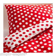 IKEA Queen Full Twin Duvet Quilt Cover Set Stenklover Polka Dot Red Gray BNIP | eBay