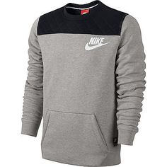 Nike FB Fleece Crewneck LS SWEATSHIRT Grey/Black tech 617778-063 MENS SZ  Small S