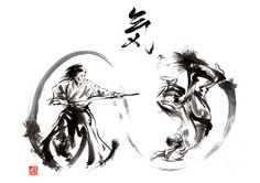 Paintings and prints for sale - samurai, geisha, cherry blossom, japanese culture. Ink painting gallery. Sumi-e.