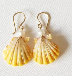 Sunrise shell earrings  Hawaiian shell earrings  by MaimodaJewelry