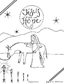 This free coloring page is the first in our new Advent project. Click here to see all the sheets in this series. The illustration shows Mary beside a donkey on the road to Bethlehem. As she travel...