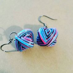 Paper Bead Dangle Earrings by Feelingsumthin on Etsy