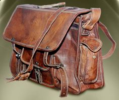 Leather Messenger 15 Inches/inch Handmade Pure Genuine Soft Camel Leather Mens Laptop Messenger Satchel Bag Handbag Briefcase macbook case. $85.00, via Etsy.