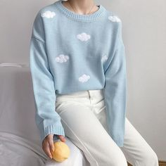 2018 Women'S Kawaii Ulzzang Vintage College Loose Clouds Sweater Female Korean P. - Clothes - 2018 Women'S Kawaii Ulzzang Vintage College Loose Clouds Sweater Female Korean Punkwwetoro - Aesthetic Fashion, Look Fashion, Aesthetic Clothes, Aesthetic Sweaters, Street Fashion, Cute Fashion Style, Blue Aesthetic, Fashion Women, Aesthetic Clothing Stores