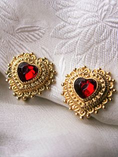 Vintage Red Heart Gold Tone Victorian Gold by dazzledbyvintage