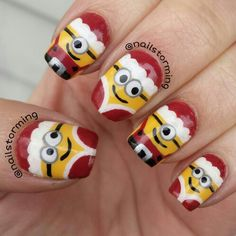 Santa minions! Follow me on instagram @Nailstorming and hashtag #nailstormed if you recreate!! #santanails #minionnails #minions #nails #nailart #christmasnails
