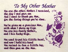 Free Cards With Poems For Mothers Day -- To My Other Mother.