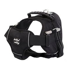 Lifeunion Fashion Houndstooth No Pull Dog Harness Reflective Hiking Camping Vest with Flashlight Attachment for Medium Large Dogs Pitbulls Black XL ** Click image for more details.