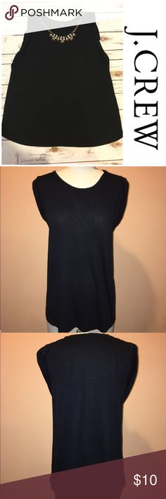 "J.Crew Black Tank Top Preowned J crew black Sleevless top. Worn a few times in very good condition. Measures from pit to pit 22"" and length 28"". Necklace not included. PRICE FIRM J. Crew Tops Tank Tops"