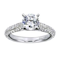 14k White Gold 0.70ct Diamond Gabriel & Co Straight Semi Mount Engagement Ring