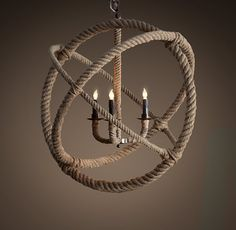 Rope Planetarium Chandelier Restoration Hardware Knock Off (made with hula hoops!)
