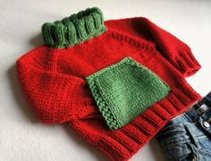 Red and green sweater for children  turtle neck by KsyuKnitting