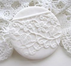 lace imprint polymer clay brooch by shabnam saleem