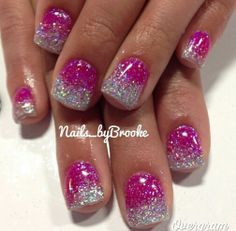 Vegas nails!...magenta pink dipped in silver glitter